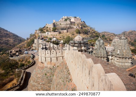 Kumbhalgarh Fort in Rajasthan, India. The fort is a World Heritage site with perimeter walls extending 36km and encompassing more than 360 temples. - stock photo