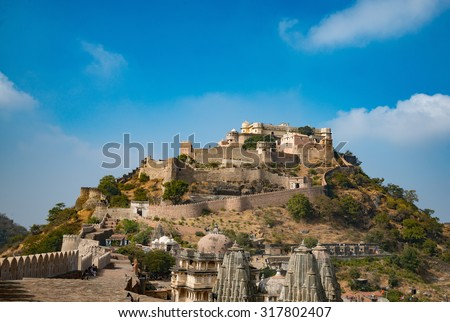 Kumbhalgarh Fort is a Mewar fortress on the westerly range of Aravalli Hills, in the Rajsamand District of Rajasthan state in India. It's World Heritage Site included in Hill Forts of Rajasthan. - stock photo