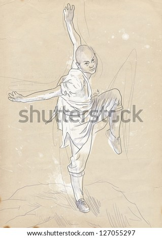 Kung Fu, Chinese martial art. /// A hand drawn illustration of Chinese martial arts, popularly referred to as kung fu.  /// Outlines on old paper. - stock photo