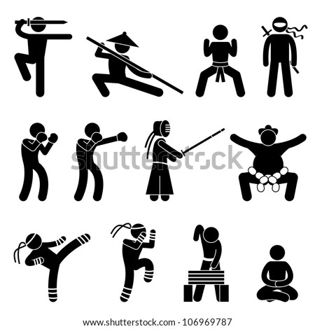 Kung Fu Martial Arts Self Defense Chinese Wushu Ninja Boxer Kendo Sumo Muay Thai Icon Symbol Sign Pictogram - stock photo