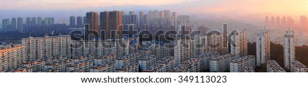 KUNMING, CHINA - NOVEMBER 11: New Construction on the outskirts of China's major cities, November 11, 2015, Kunming, China. China's economic boom leaves a trail of ghost cities. - stock photo