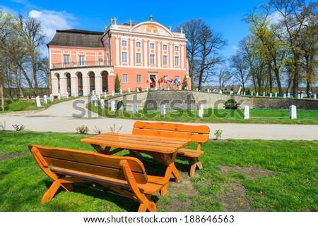 Kurozweki palace on sunny spring day, Poland - stock photo