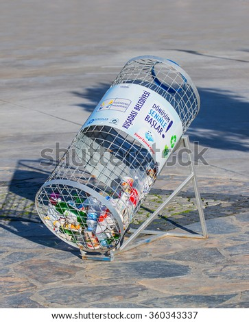 KUSADASI, TURKEY - JANUARY 08, 2016: Reusable waste. Metal, plastic, paper and glass before segregation - stock photo