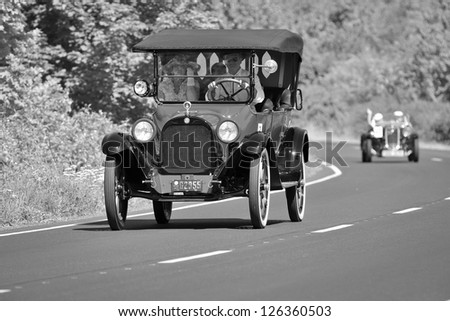 KUTNA HORA, CZECH REPUBLIC - AUGUST 19, Car Hudson from 1917  during international veterans competitions  produced  until 1940 on August 19, 2012 in Kutna Hora, Czech Republic. - stock photo