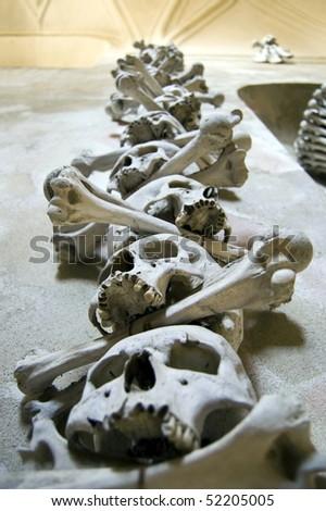 Kutna Hora, Kostnice - Bone Church, Scary Human Skulls and Bones as Decoration - stock photo
