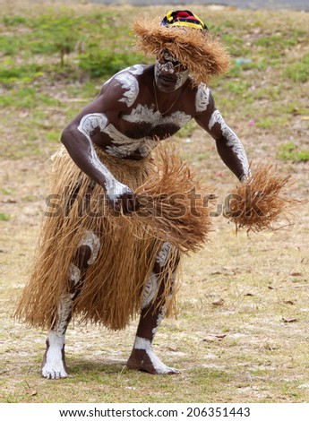 Kuto, Iles des Pins-January 8th 2014: A kanak male dancer during a song and dance performance. Melanesian Kanak are the main inhabitants of Kuto. - stock photo
