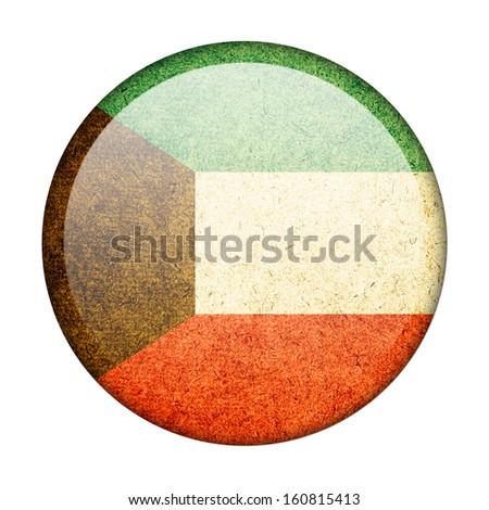 Kuwait button flag - stock photo