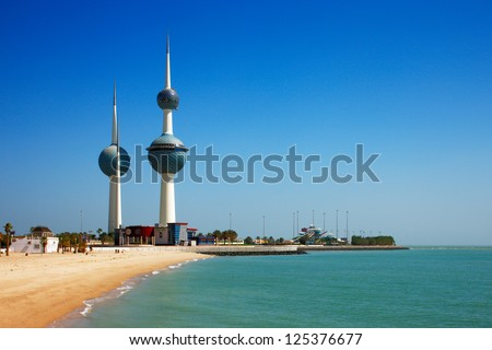 KUWAIT CITY, KUWAIT - JULY 19 - The main tower of Kuwait Towers is 187 m and carries two restaurants and a water tank. The second tower is 147 m and is a water tower. Picture taken on July 19, 2010. - stock photo