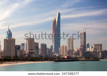 KUWAIT - DEC 8: Skyline of Kuwait City. The Al Hamra Tower in the middle. December 8, 2014 in Kuwait, Middle East - stock photo