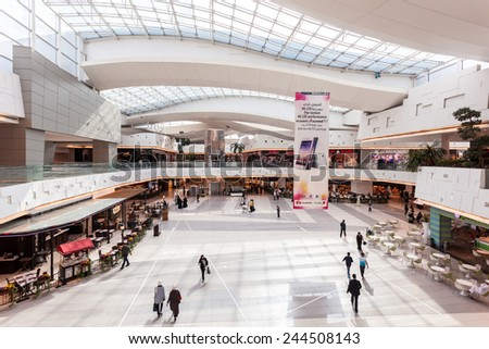 KUWAIT- DECEMBER 10: Interior of The Avenues Mall in Kuwait. December 10, 2014 in Kuwait City, Middle East - stock photo