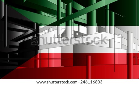 Kuwait flag and abstract background - stock photo