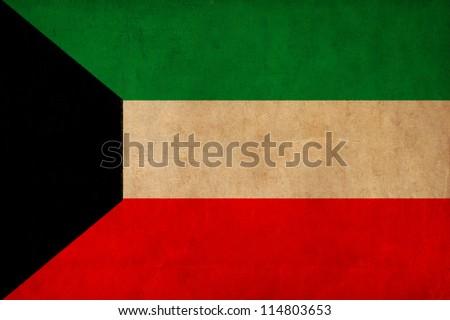Kuwait flag drawing ,grunge and retro flag series - stock photo
