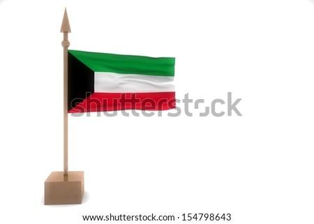 kuwait waving flag isolated on white - stock photo