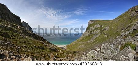 Kvalvika beach in northern Norway - stock photo
