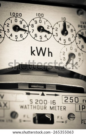 kWh Electric meter and dials - stock photo