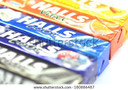 KWIDZYN, POLAND -Â?Â? MARCH 4 , 2014: Variety of Halls cough drops which are sold by Cadbury, now owned by Mondel?z International. Halls Brothers Company was founded in Britain in 1893  - stock photo