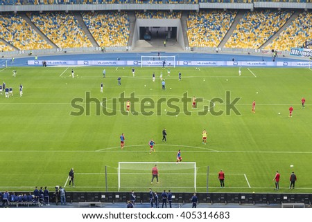 KYIV, UKRAINE - APRIL 10, 2016: Field of NSC Olympic stadium (NSC Olimpiyskyi) during Ukraine Premier League game FC Dynamo Kyiv vs FC Volyn in Kyiv, Ukraine - stock photo