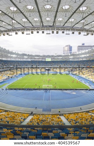 KYIV, UKRAINE - APRIL 10, 2016: NSC Olympic stadium (NSC Olimpiyskyi) during Ukraine Premier League game FC Dynamo Kyiv vs FC Volyn in Kyiv, Ukraine - stock photo