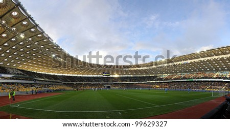 KYIV, UKRAINE - APRIL 1: Panoramic view of Olympic stadium (NSC Olimpiysky) during Ukraine Championship game between FC Dynamo Kyiv and FC Chornomorets on April 1, 2012 in Kyiv, Ukraine - stock photo