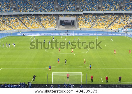 KYIV, UKRAINE - APRIL 10, 2016: View of NSC Olympic stadium (NSC Olimpiyskyi) during Ukraine Premier League game FC Dynamo Kyiv vs FC Volyn in Kyiv, Ukraine - stock photo