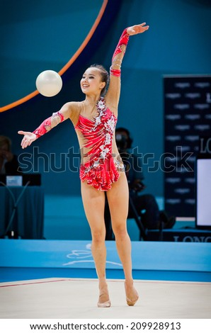 KYIV, UKRAINE - AUGUST 30, 2013: Yeon Jae Son of Korea performs during 32nd Rhythmic Gymnastics World Championship (Individual All-Around competition) - stock photo