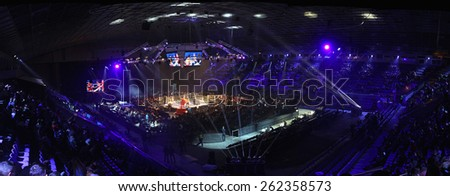 "KYIV, UKRAINE - DECEMBER 13, 2014: Panoramic view of tribunes of Palace of Sports in Kyiv during ""Evening of Boxing"" - stock photo"