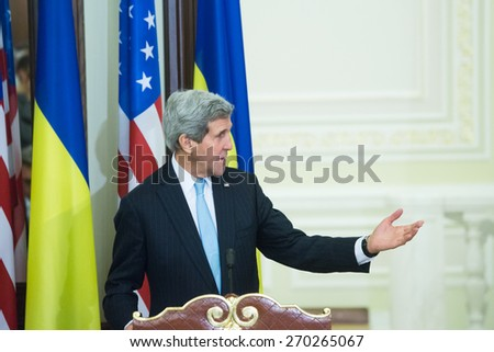 KYIV, UKRAINE - FEB 05, 2015: United States Secretary of State John Kerry during an official press-briefing in the Administration of the President of Ukraine. Ukraine. February 05, 2015.  - stock photo