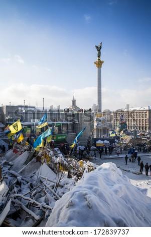 KYIV, UKRAINE - JAN 23: Euromaidan square during anti-government protest on January 23, 2014, in center of Kiev, Ukraine - stock photo
