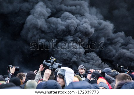 KYIV, UKRAINE - JAN 23: Volodymyr Klitchko on the occupying street on the demostration during anti-government protest Euromaidan on January 23, 2014, in center of Kiev, Ukraine - stock photo