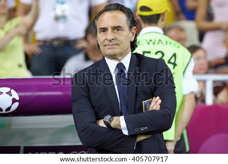 KYIV, UKRAINE - JULY 1, 2012: Head Coach of Italy national football team Cesare Prandelli looks on during UEFA EURO 2012 Final game against Spain at Olympic stadium in Kyiv, Ukraine - stock photo