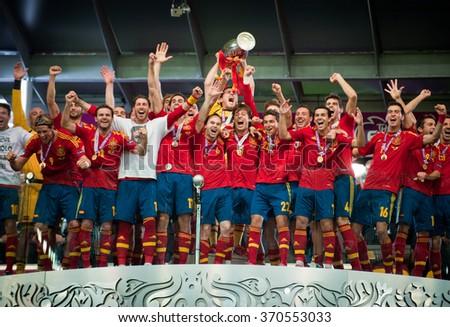 KYIV, UKRAINE - JULY 1: Spain national football team celebrates their victory of the UEFA EURO 2012 Championship at Olympic stadium on July 1, 2012 in Kyiv, Ukraine - stock photo