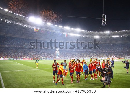 KYIV, UKRAINE - JULY 1, 2012: Spain national football team celebrates their winning of the UEFA EURO 2012 Championship after the final game against Italy at NSC Olympic stadium in Kyiv, Ukraine - stock photo