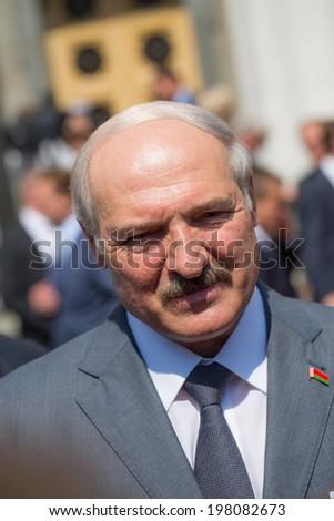 KYIV, UKRAINE - 08 JUNE 2014: The President of Belarus Alexander Lukashenko gives an interview after the ceremony the inauguration of Ukrainian President Petro Poroshenko June 08 2014 in Kyiv, Ukraine - stock photo