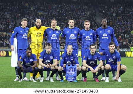 KYIV, UKRAINE - MARCH 19, 2015: FC Everton players pose for a group photo before UEFA Europa League game against FC Dynamo Kyiv at Olympic stadium in Kyiv - stock photo