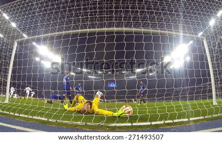 KYIV, UKRAINE - MARCH 19, 2015: Goalkeeper Tim Howard of FC Everton missed a goal during UEFA Europa League game against FC Dynamo Kyiv at Olympic stadium in Kyiv - stock photo