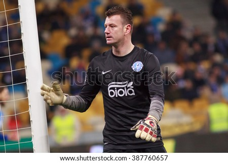 KYIV, UKRAINE - MARCH 5, 2016:  Ukrainian Football Premier League game. Dynamo Kyiv against Dnipro Dnipropetrovsk. Goalkeeper Lastuvka Jan of FC Dnipro - stock photo