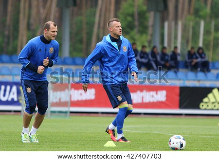 KYIV, UKRAINE - MAY 20, 2016: Open training session of Ukraine National Football Team before UEFA EURO 2016 Championship. Koncha-Zaspa Training Camp, Kyiv, Ukraine - stock photo