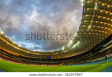 KYIV, UKRAINE - MAY 17: Panoramic view of Olympic stadium (NSC Olimpiysky) during Ukrainian Premier League game between FC Dynamo Kyiv and FC Dnipro Dnipropetrovsk on May 17, 2015 in Kyiv, Ukraine - stock photo