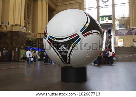 KYIV, UKRAINE - MAY 08: tango 12, the official matchball of EURO 2012 POLAND - UKRAINE, on the Central Railway station in Kyiv, Ukraine on May 08, 2012. Kiev gets ready to host UEFA EURO in 2012 - stock photo