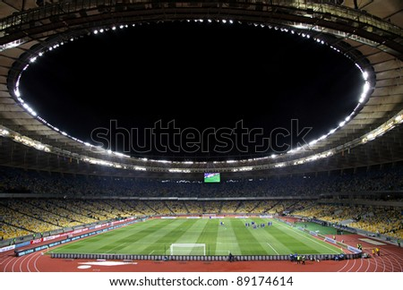 KYIV, UKRAINE - NOVEMBER 11: Panoramic view of Olympic stadium (NSC Olimpiysky) during friendly football game between national teams of Ukraine and Germany on November 11, 2011 in Kyiv, Ukraine - stock photo