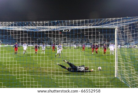 KYIV, UKRAINE - NOVEMBER 27: Roman Eremenko of Dynamo Kyiv misses the penalty during Ukraine Championship game against FC Sevastopol on November 27, 2010 in Kyiv, Ukraine - stock photo