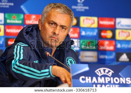 KYIV, UKRAINE - OCTOBER 19, 2015: FC Chelsea manager Jose Mourinho attends press-conference before UEFA Champions League game against FC Dynamo Kyiv at NSC Olimpiyskyi stadium - stock photo