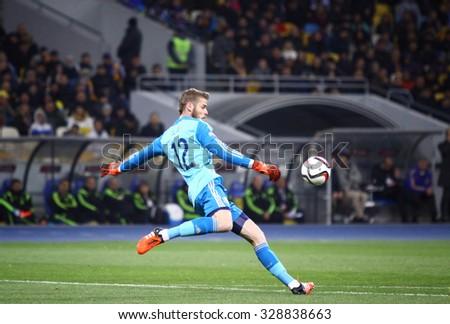 KYIV, UKRAINE - OCTOBER 12, 2015: Goalkeeper David de Gea of Spain in action during UEFA EURO 2016 Qualifying game against Ukraine at NSK Olimpiyskyi stadium in Kyiv - stock photo