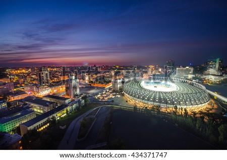 KYIV, UKRAINE - SEPTEMBER 15: Aerial view of Olympic stadium (NSC Olimpiysky) during from the top on September11, 2015 in Kyiv, Ukraine - stock photo