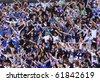 KYIV, UKRAINE - SEPTEMBER 26: FC Dynamo Kiev fans support their team during Ukraine Championship game against Arsenal on September 26, 2010 in Kyiv, Ukraine - stock photo