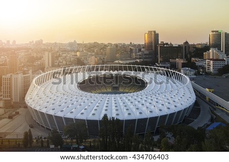 KYIV, UKRAINE - SEPTEMBER 15: Sunset view of Olympic stadium (NSC Olimpiysky) during from the top on September11, 2015 in Kyiv, Ukraine - stock photo