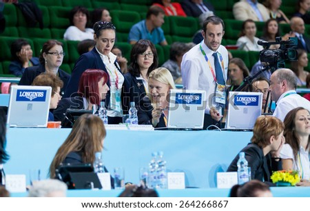 KYIV, UKRAINE - SEPTEMBER 1, 2013: The judges team during 32nd Rhythmic Gymnastics World Championship (Group Apparatus Final competition) - stock photo