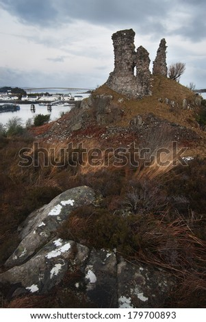Kyleakin, Isle of Skye: Dunakin Castle - stock photo