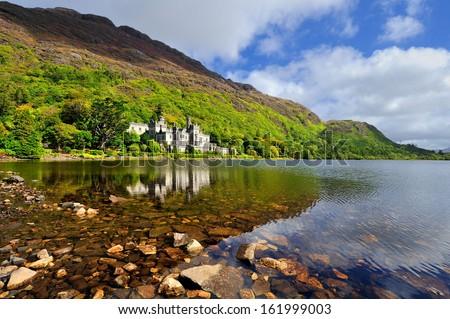 Kylemore Abbey in Connemara, County Galway, Ireland. - stock photo