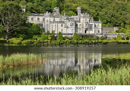 Kylemore Abbey in Connemara, County Galway, Ireland - stock photo